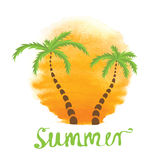 Palm trees against the watercolor sun. Vector logo vector illustration