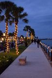 Palm Trees along the bay Lit Up For Christmas. Palm Trees along Mantazas Bay, in St. Augustine, Florida during the annual Nights of Lights at the Christmas Stock Photo