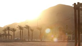 Palm trees along the road at sunset, palm trees on a background of mountains, the sun sets over the mountain in a. Tropical country, sun, orange, sunbeam stock footage
