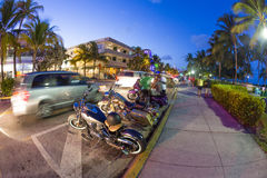 Palm trees and art deco hotels at Ocean Drive Royalty Free Stock Photography