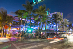 Palm trees and art deco hotels at Ocean Drive Stock Image