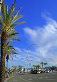 Palm trees on Barcelona boulevard Stock Images
