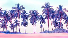 Palm trees on the beach in pink, blue and purple colors. royalty free stock images