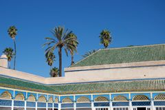 Palm trees and beautiful roof in Morocco royalty free stock image