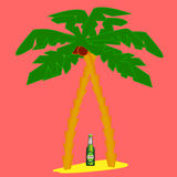 Palm trees and beer Stock Image