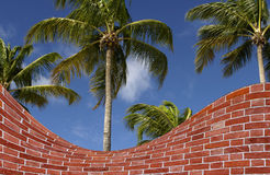 Palm trees and brick wall fake Stock Photo