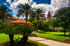 Palm trees and buildings at Flagler College, St. Augustine, Flor Royalty Free Stock Image