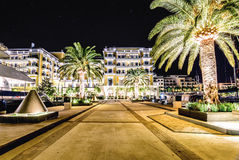 Palm trees and the buildings in the night lights in Marina Porto Royalty Free Stock Photography
