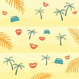 Palm trees and bus on the sand royalty free illustration
