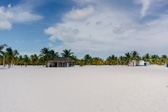 Palm trees on the Caribbean Sea on the white sand beach of Cayo Largo, Cuba Royalty Free Stock Image