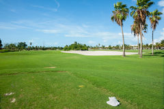 Palm trees cast shadow over golf course fairway with sand bunker Stock Photos