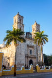 Palm Trees and Cathedral. In the center of Valladolid, Mexico Royalty Free Stock Photography