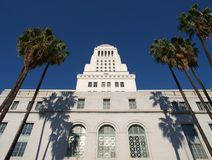 Palm Trees at City Hall. Palm trees frame the historic Los Angeles City Hall Royalty Free Stock Photography