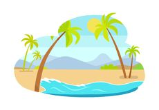 Palm Trees on Coastline Mountains in Background. Palm trees on coastline with mountains in background, hot summer landscape sea coast and exotic palms royalty free illustration