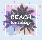 Palm trees on a colored background, beach weekend vector illustration