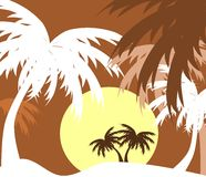 Palm trees colorful background Stock Photo