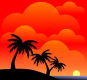Palm trees colorful background Royalty Free Stock Images