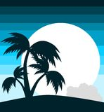 Palm trees colorful background Royalty Free Stock Photos