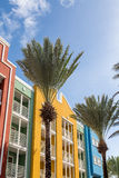Palm Trees by Colorful Resort Balconies Royalty Free Stock Photos