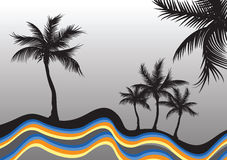 Palm trees and colorful sea. Illustration of silhouetted palm trees on waves of colorful sea with gray gradient background Stock Photo