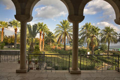 Palm trees and columns. Royalty Free Stock Photo