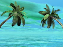 Palm trees - 3D render Stock Image
