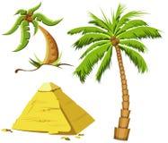 Palm trees and Egypt pyramid Stock Photo