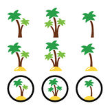 Palm trees, exotic holidays colorful icons Stock Photo