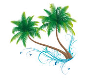 Palm trees. With floral elements royalty free illustration