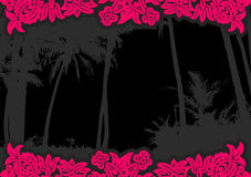 Palm trees with flowers. Vector Stock Images
