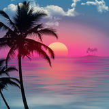 Palm trees in foreground on a sea landscape at sunset. Sea landscape at sunset with island and palm trees in the foreground royalty free illustration