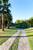 Palm trees in formal garden of summer park. Turkey Royalty Free Stock Photography