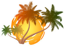 Palm trees. In front of a abstract sun stock illustration