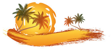 Palm trees. In front of a abstract sun vector illustration