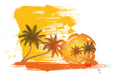 Palm trees. In front of a abstract sun royalty free illustration