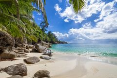 Perfect untouched tropical beach Seychelles stock images