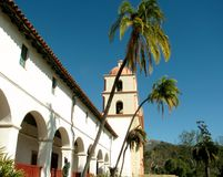 Palm trees in front of Santa Barbara Mission building. Stock Photography