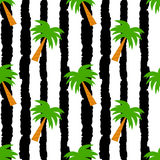 Palm trees on grunge black and white stripes seamless vector pattern background illustration Royalty Free Stock Photos