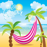 Palm trees with a hammock, the sea and sky with clouds. Vector illustration. Vacation and travel. Palm trees with a hammock, the sea and sky with clouds. Vector royalty free illustration