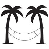 Palm trees with hammock. Vector design of silhouette of two palm trees with a hammock dangling between them Royalty Free Stock Photos
