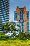Palm trees and highrises in South Beach, Miami, Florida. Royalty Free Stock Image