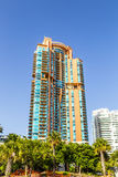 Palm trees and highrises in South Beach, Miami, Florida Stock Photo