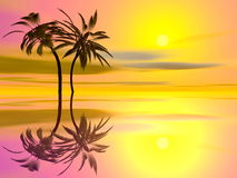 Palm trees holidays - 3D render Stock Photos