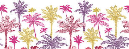 Palm trees horizontal seamless pattern background Royalty Free Stock Photography
