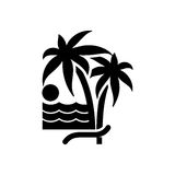 Palm trees icon. Beach chair and vacation icon vector  Stock Image