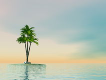 Palm trees on an island in middle of the ocean - 3D render Stock Images