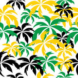 Palm trees in Jamaica colors. Seamless background. Stock Photography