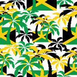 Palm trees in Jamaica colors. Seamless background. Stock Photo