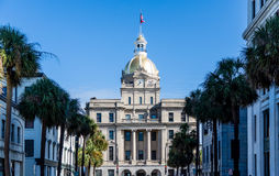 Palm Trees Leading to Savannah City Hall Stock Image