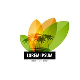 Palm trees logo design template. travel or nature Royalty Free Stock Photo